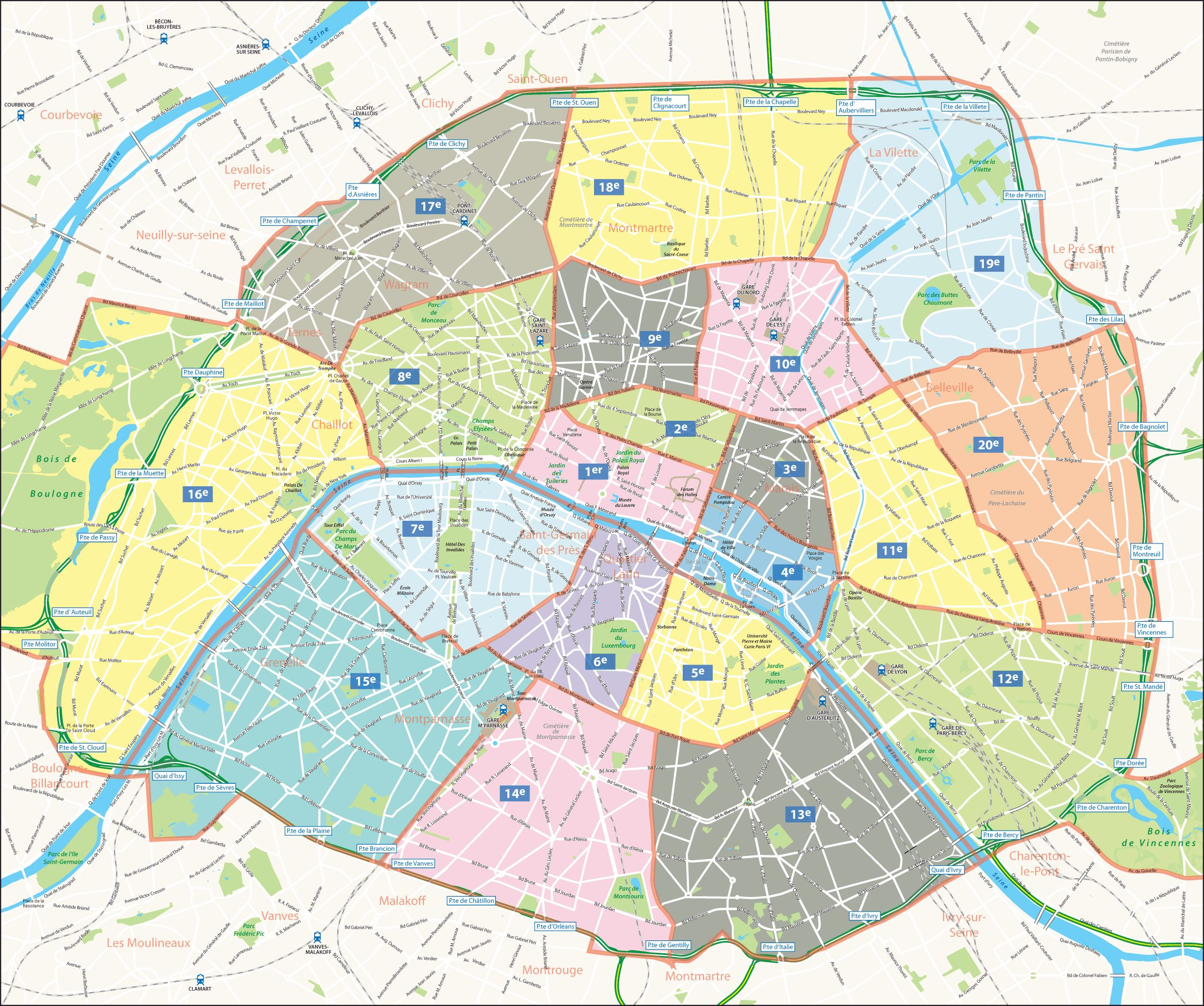 Carte arrondissements de Paris